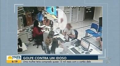 Golpe contra idoso; mulher teria comprado quase 15 mil reais com o cartão dele - Confira os detalhes na reportagem de Waléria Assunção.