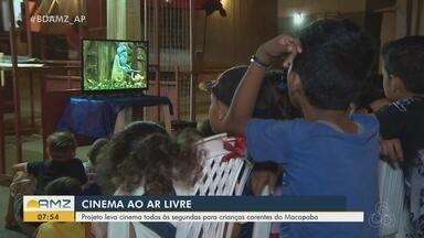 Moradores montam sessão de cinema toda segunda-feira para crianças do conjunto Macapaba - Ideia é levar entretenimento para crianças que moram no residencial, que fica na Zona Norte de Macapá.