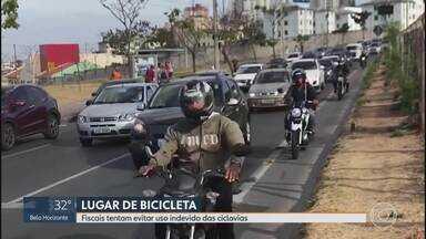 Fiscais tentam evitar uso indevido das ciclovias em Belo Horizonte - Motociclistas têm usado as pistas na capital.