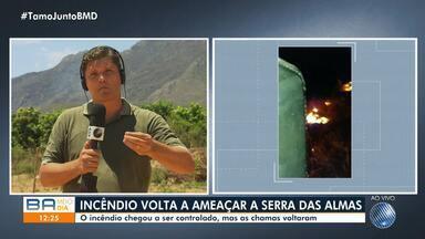 Bombeiros controlam incêndio, mas fogo reacende na região da Chapada Diamantina - Fogo teve início na terça-feira (29) e ainda não foi controlado. Queimada já destruiu uma área equivalente a mais de 1.500 campos de futebol.
