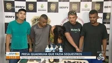Polícia apresenta quadrilha suspeita de fazer sequestros em Manaus - Eles obrigavam as vítimas a sacarem quantias em dinheiro.