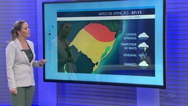 Alerta de temporais retorna ao RS para as regiões Norte e Serra nesta quinta-feira - Chuvas voltam para maioria das cidades do estado. Temperaturas seguem altas.