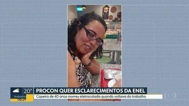 Procon pede esclarecimento da Enel por causa da morte da copeira Maria Aparecida Cardoso - Ela morreu eletrocutada quando voltava do trabalho, no bairro do Capão Redondo, na zona sul.