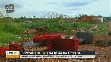 Moradores do bairro Jardim Imperial convivem com depósito de lixo irregular em Leme - Problema ocorre entre a estrada que liga Leme a Araras.
