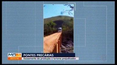 Situação precária em pontes da região da Serra da Canastra prejudica turismo e produção - Estruturas estreitas e sem proteção oferecem riscos aos motoristas que atravessam. Veja o posicionamento das prefeituras.