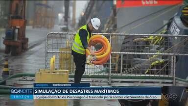 Porto de Paranaguá simula vazamento de óleo no mar para testar equipes - A simulação foi feita de surpresa, para treinar os trabalhadores a conter desastres marítimos.