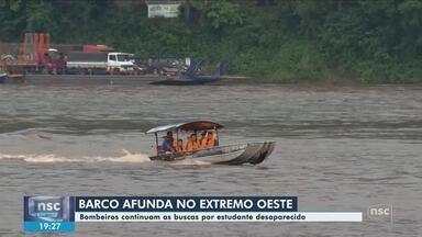 Embarcação vira no Rio Uruguai entre SC e RS e jovem desaparece - Embarcação vira no Rio Uruguai entre SC e RS e jovem desaparece
