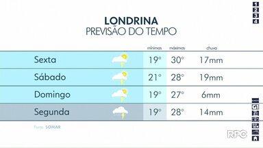 Tempo vai continuar chuvoso em Londrina - Previsão aponta chuva durante o fim de semana e temperaturas mais agradáveis