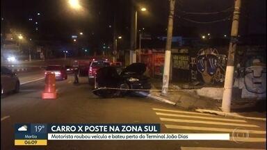 Carro bate em poste na noite desta quinta-feira (7) - Acidente aconteceu na Estrada de Itapecerica próximo ao terminal João Dias