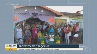 Pais reclamam de estrutura de creche em Calçoene, no Amapá - Eles relatam má qualidade da merenda.