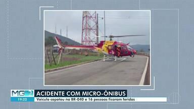 Micro-ônibus capota na BR-040 e 16 pessoas ficaram feridas - Acidente foi próximo a Itabirito e o motorista não se feriu.