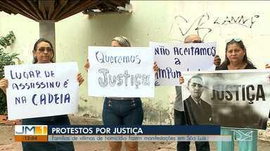 Protestos reúnem famílias de vítimas de assassinatos em São Luís - Eles pedem mais rapidez no julgamento de um processo e no outro, reclamam do habeas corpus concedido ao assassino.