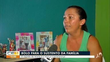 Mulher sustenta a família com venda de bolos preparados em fogão de lenha - Saiba mais no g1.com.br/ce
