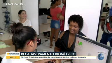 TRE realiza plantão em cidades baianas para o recadastramento biométrico - Tribunal Regional Eleitoral vai funcionar aos fins de semana. Quem não recadastrar a biometria até fevereiro de 2020, pode ter o título cancelado.