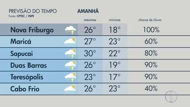 Confira a previsão do tempo para o interior do Rio neste sábado (9) - Assista a seguir.