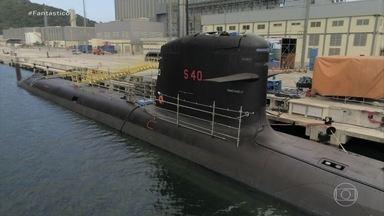 Novos submarinos brasileiros estão entre os mais modernos do mundo - Fantástico visitou os estaleiros onde estão sendo construídos os cinco submarinos brasileiros com repasse de tecnologia francesa. Um dos diferenciais da embarcação é o poder bélico.