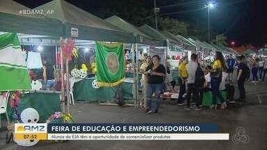 Feira estimula empreendedorismo entre alunos da Educação de Jovens e Adultos, em Macapá - Evento teve artesanato, produtos para decoração, entre outros itens que fazem parte da prática na EJA.
