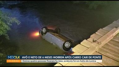 Avô e neto morrem após carro cair de ponte em um rio - Outras quatro pessoas que estavam no veículo ficaram feridas; acidente foi em Santo do Lontra, no sudoeste.