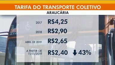 Passagem de ônibus fica mais barata em Araucária - É a terceira vez que os passageiros vêem a redução desde 2017