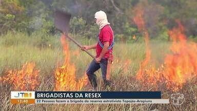 22 pessoas compõem a Brigada da Resex Tapajós-Arapiuns - Conheça o trabalho desenvolvido pelos voluntários, que aprenderam em aulas teóricas e práticas técnicas para proteger a Reserva do fogo.