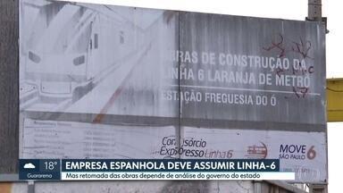 Empresa espanhola poderá retomar obras da Linha-6 Laranja do metrô - Construtora Accione fechou acordo para comprar a parte do consórcio Move São Paulo. Acordo ainda depende de anuência do governo do estado, que tem 90 dias para analisar a documentação.Ainda não há prazo para a retomada das obras.