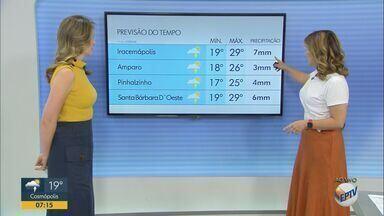 Confira a previsão do tempo para esta terça-feira (12) - Máxima de 28°C em Campinas (SP) com pancadas de chuva isolada.