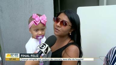 Menina atingida por concreto que caiu de varanda em Guarapari, ES, tem alta do hospital - Anna Luíza estava no colo do pai, passando por uma calçada, quando pedaços de concreto de prédio se soltaram e caíram. Caso aconteceu no dia 19 de outubro.