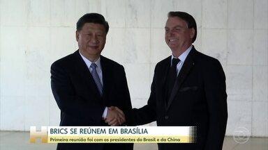 Bolsonaro recebe líderes do Brics para reunião de cúpula do bloco - Forte esquema de segurança foi montado em Brasília para receber os chefes de estado das principais economias emergentes: Rússia, Índia, China e África do Sul. Dez mil militares foram escalados para fazer a segurança na Esplanada dos Ministérios.