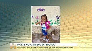 Bala perdida mata menina de 5 anos no Rio; é a sexta vítima em 2019 no estado - Katellen estava a caminho da escola quando homens armados chegaram atirando. Segundo a polícia, o alvo dos criminosos era um adolescente, que morreu na hora.