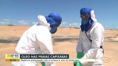 Regência está preocupada com o turismo e com as tartarugas após chegada de óleo no ES - Óleo chegou às praias do estado.