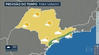 Previsão de chuva menos intensa na capital paulista - Amanhã a previsão é de tempo firme na capital. No litoral ainda chove hoje e no fim de semana. No interior o sábado vai ser ensolarado.
