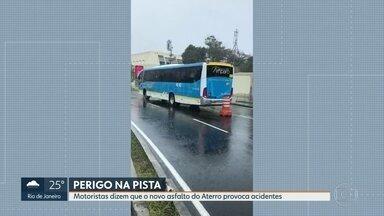 Motoristas dizem que nova pista do Aterro está causando acidentes - Os acidentes aumentaram depois de uma obra realizada pela prefeitura.