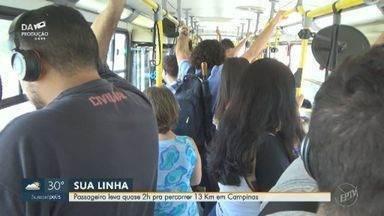 Passageira reclama de demora para percorrer trajeto de ônibus em Campinas - A mulher mora no Jardim Uruguai e precisa pegar três linhas diferentes para chegar ao trabalho. Ela demora quase duas horas para percorrer 13km.