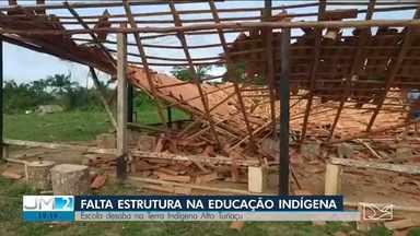 Índios Ka'apor denunciam precariedade na educação nas aldeias - A única escola da aldeia central da Reserva Alto Turiaçu desabou.