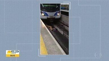 Maquinista evita atropelamento de homem na estação São Joaquim - Foi no domingo. O homem foi socorrido e sofreu apenas ferimentos leves.