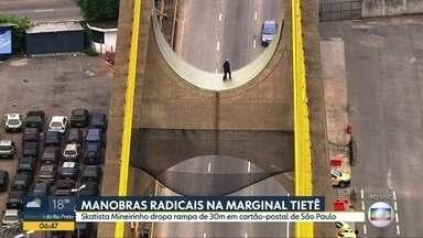 Bom Dia São Paulo - Edição de Terça-Feira, 19/11/2019 - Skaista Mineirinho faz manobras radicais em ponte com 30 metros de altura. Polícia continua investigações sobre as causas dos envenenamentos de Barueri.