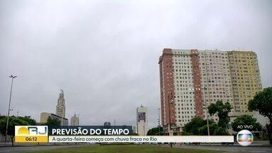 Previsão é de chuva para o Rio de Janeiro nesta quarta-feira (20) - O dia começa com céu nublado com chuva a qualquer hora. A temperatura máxima prevista é de 27ºC.