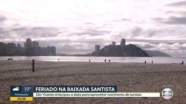 Feriadão na baixada santista - São Vicente antecipou a data para aproveitar o movimento dos turistas.