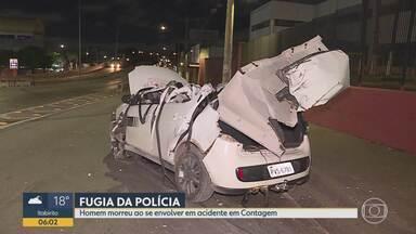 Homem morre durante fuga em Contagem, na Grande BH - Carro ficou todo destruído depois de derrubar uma lixeira e ainda atingir um poste e um muro. Motorista fugia da polícia quando perdeu o controle da direção.