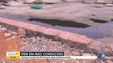Píer de acesso a Paramana apresenta problemas estruturais e falta de manutenção. - O JM faz blitz pelos atracadouros na baía de Todos-os-Santos