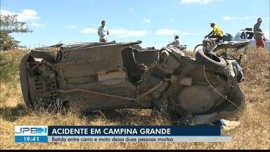 Batida entre carro e moto deixa duas pessoas mortas em Campina Grande - Acidente na alça sudoeste.