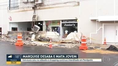 Marquise de shopping cai em Penápolis e mata uma mulher - No dia 13 deste mês, uma marquise caiu no Jardins, na capital, e matou um jovem