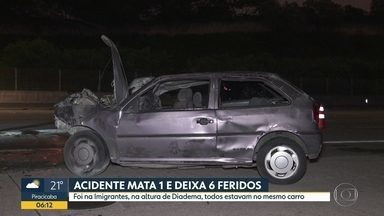 Acidente de carro mata uma pessoa e deixa feridos na Rodovia dos Imigrantes - Caso aconteceu na noite destes domingo (24) na altura da cidade de Diadema.