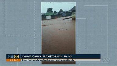 Chuva causa transtornos em Ponta Grossa - Uma árvore caiu na região do bairro Ronda e ruas ficaram alagadas na região da Colônia Dona Luiza.