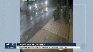 Temporal causa prejuízos em Água Clara e Ponta Porã - Previsão é de mais chuva para a tarde desta quarta-feira