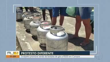 Sindpetro promove venda de botijões de gás a R$30 em Campos - Foram vendidos cerca de 200 botijões a preços populares.