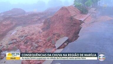 Chuva causa estragos em todo o estado - Em Echaporã, na região de Marília, as aulas foram suspensas. E 80% dos moradores de São Roque ficaram sem energia.