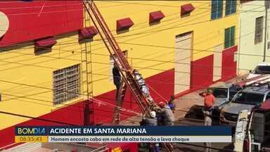 Homem leva choque enquanto pintava fachada de mercado em Santa Mariana - Segundo os bombeiros, a descarga elétrica aconteceu quando o pincel encostou nos fios.