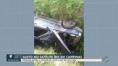 Motorista perde o controle do carro e cai em uma vala no Satélite Íris em Campinas - O carro ficou danificado mas o homem, que estava sozinho, não se machucou.