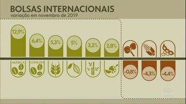 Produtos agrícola fecham o mês com os preços em alta nas bolsas internacionais - Os contratos são de mercado futuro, com vencimento entre Março e Maio